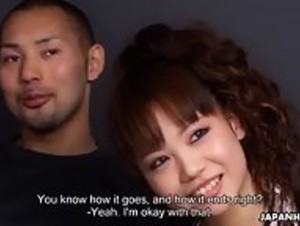 Sakura tastes a stranger's cock while her lover watches English Subbed